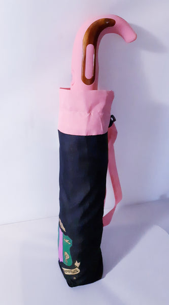 Alpha Kappa Alpha Pink/Black Large Umbrella (Brown Handle)
