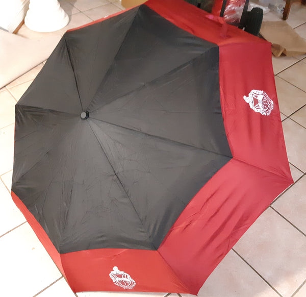 Delta Sigma Theta Sorority Large Hurricane Umbrella Red/Black (Black Handle)