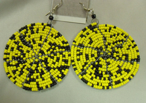 Black and Yellow Kenyan Earrings
