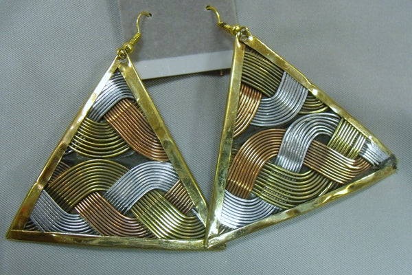 Three Metals Weaving Pattern Earrings