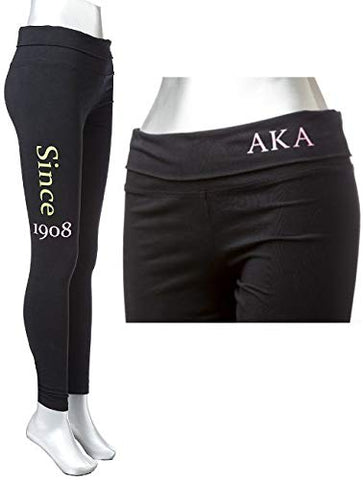 Alpha Kappa Alpha Sorority Women's Yoga Leggings Black