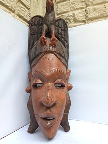 Rare & Unique Mahagany Wood Fulani Mask With Eagle From Guinea 24x8 in