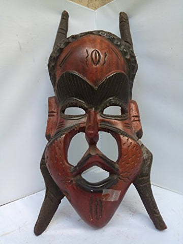 Unique Mahagony Wood Warrior Mask From Guinea 20x8 in