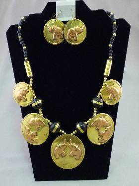 Brass Elephant Jewelry Set