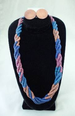 Twisted wooden bead Necklace