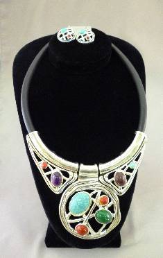 Mixed Stone Silver Jewlery Set