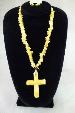Stone Cross Necklace Set