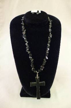 Black Cross Necklace Set