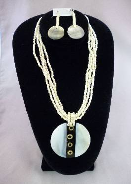 African Ivory-Colored Stone Jewlery Set