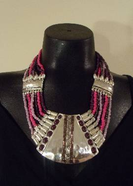 Pink & Metallic Necklace Set