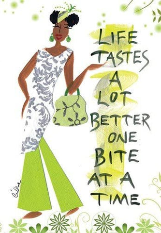 """Life Tastes A Lot Better One Bite At A Time"" Cidne Wallace Magnet"