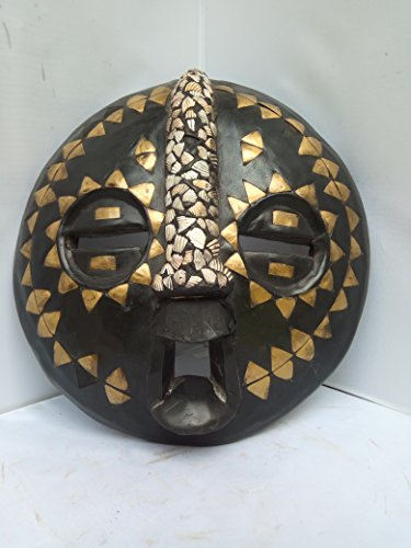 "Bakota Oval Protection Metal in Crusted "" Protection For Property"" Mask from Gabon West Africa 14x14 in"