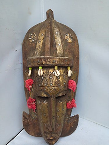 Antique Beaded Bambara Mask With Brass plates and Cowery Shells from Mali West Africa 13'' by 6''