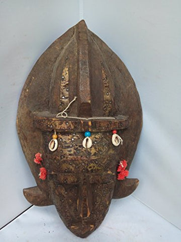 Antique Bambara Mask With Corwy Shells from Mali West Africa 17x9 in