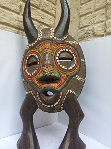 "Bakota ""Babanka"" Standing Mask With Cowry Shells & Beads from Gabon West Africa 28x13 in"