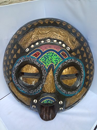 "Bakota With Cowry Shells t"" Protection For Property"" Mask from Gabon West Africa 20x20 in"