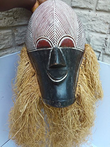 Antique Songye Mask From Congo 13x8.5 with rafia upto 28 in