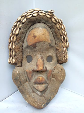 Antique And Unique Dan Mask with cowrie shells from Ivory Coast 14x9 in