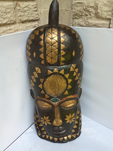 "Bakota Golden Metal in Crusted "" Protection For Property"" Mask from Gabon West Africa 25x9 in"