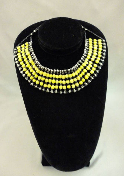 Kenya Beaded Black and Yellow Choker