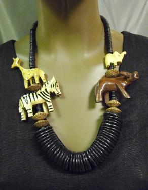 Safari African Wooden Necklace