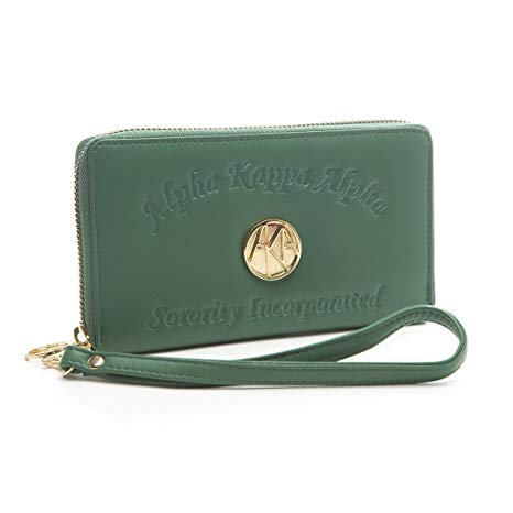 Alpha Kappa Alpha Sorority Ladies Embossed Soft Leather Wallet