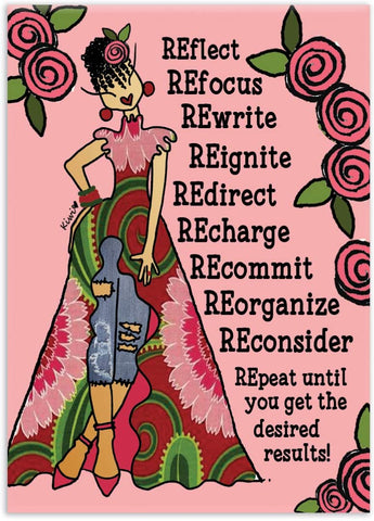 Reflect Refocus Rewrite Magnet by Kiwi McDowell