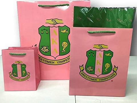 Alpha Kappa Alpha Sorority Paper Gift Bag Set with Decorative Tissue