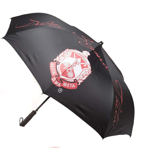 Delta Sigma Theta Sorority Upside Down Inverted Dual Layer Umbrella Black