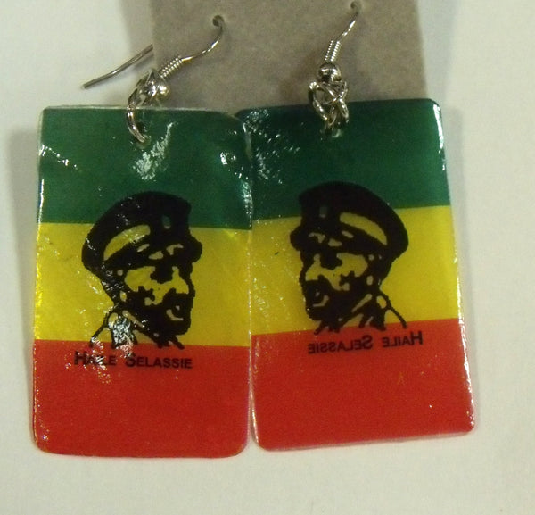 Ethiopian Flag earring  with E.Hailesellassie picture
