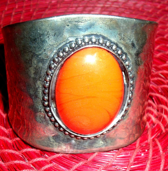 SILVER WITH RED STONE BRACELET