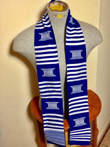 Kente Blue And White Handwoven Stole