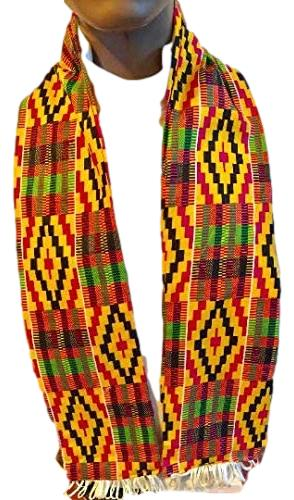 African Kente Cloth print Scarf Stole Orange With White Tassels