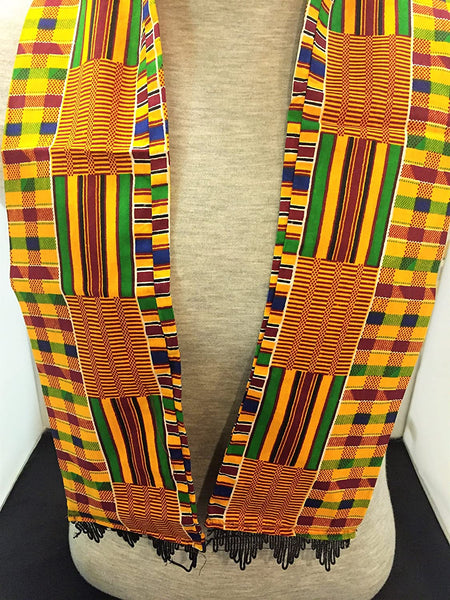 African Royal Kente Print Cloth Scarf & Stole Stye 3