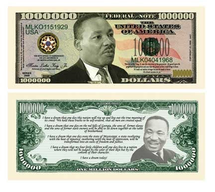 MARTIN LUTHER KING, JR. (MLK) COMMEMORATIVE MILLION DOLLAR BILL