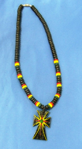 Rasta Cross Necklace