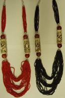 Red or Black Beaded Necklace