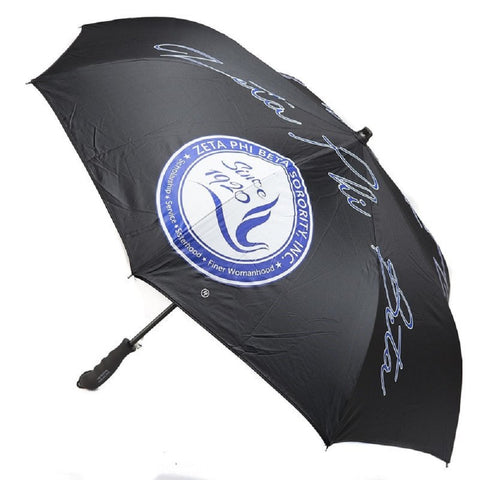 Zeta Phi Beta Sorority Upside Down Inverted Dual Layer Umbrella Black
