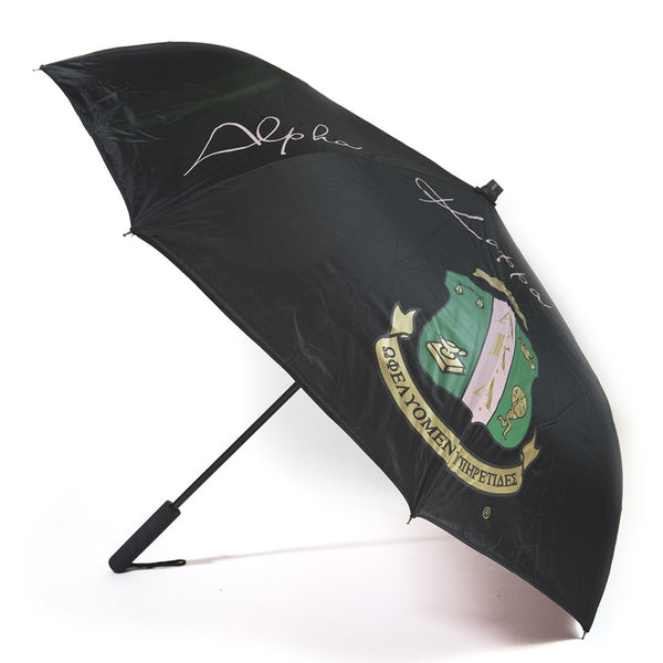 Alpha Kappa Alpha Sorority Upside Down Inverted Dual Layer Umbrella Black