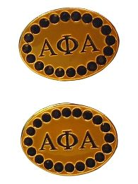 Alpha Phi Alpha Gold Crystal Cufflinks