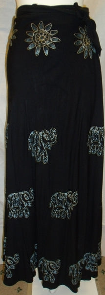 Good luck Elephant Black Wrap Around Skirt