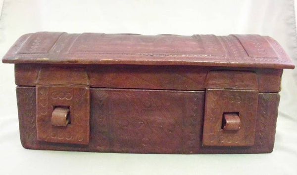 Antique Leather Jewelry Chest