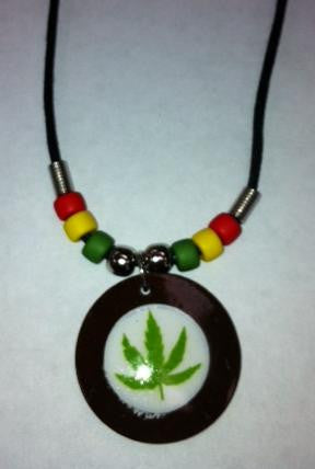 Weed Leaf Pendant With Rasta Black Cord Necklace
