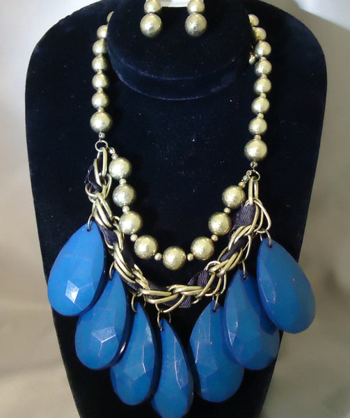 Vibrant Blue And Gold Necklace