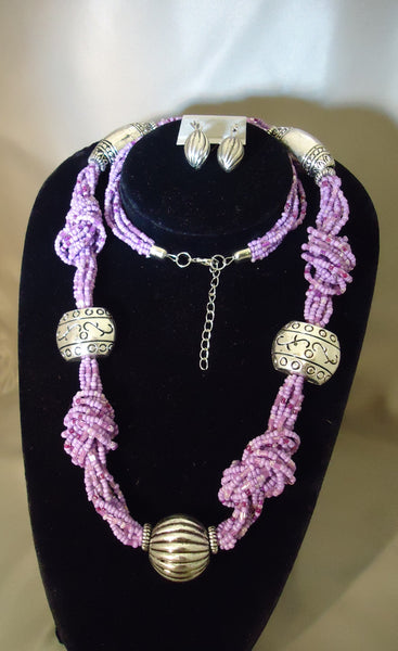 Lilac And Silver Necklace Set