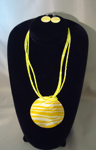 Yellow & White Glass Zebra Jewelry Set