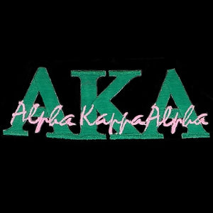 Alpha Kappa Alpha Sorority 11'' by 4'' Green and Pink Signature Emblem Patch