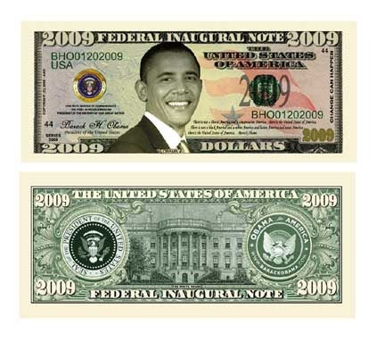 BARACK OBAMA 2009 INAUGURAL COMMEMORATIVE DOLLAR BILL