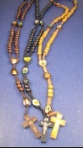 Wood Beaded Rosary w/ Wood Cross w/ Jesus Asst Woodtone Colors