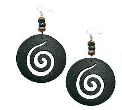 Wooden Swirl Earrings
